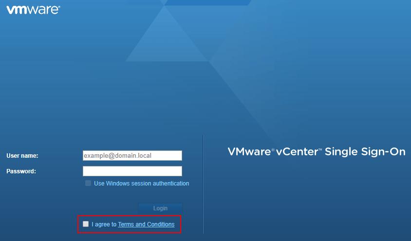 VMware vSphere login checkbox