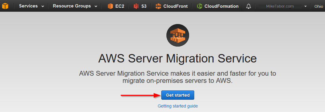aws server migration service get started