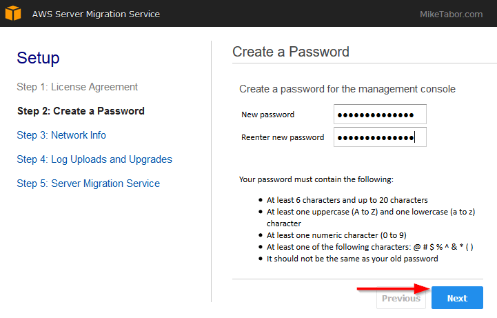 aws server migration service password