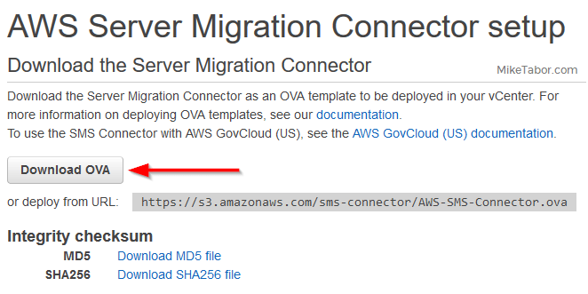 aws sms download ova