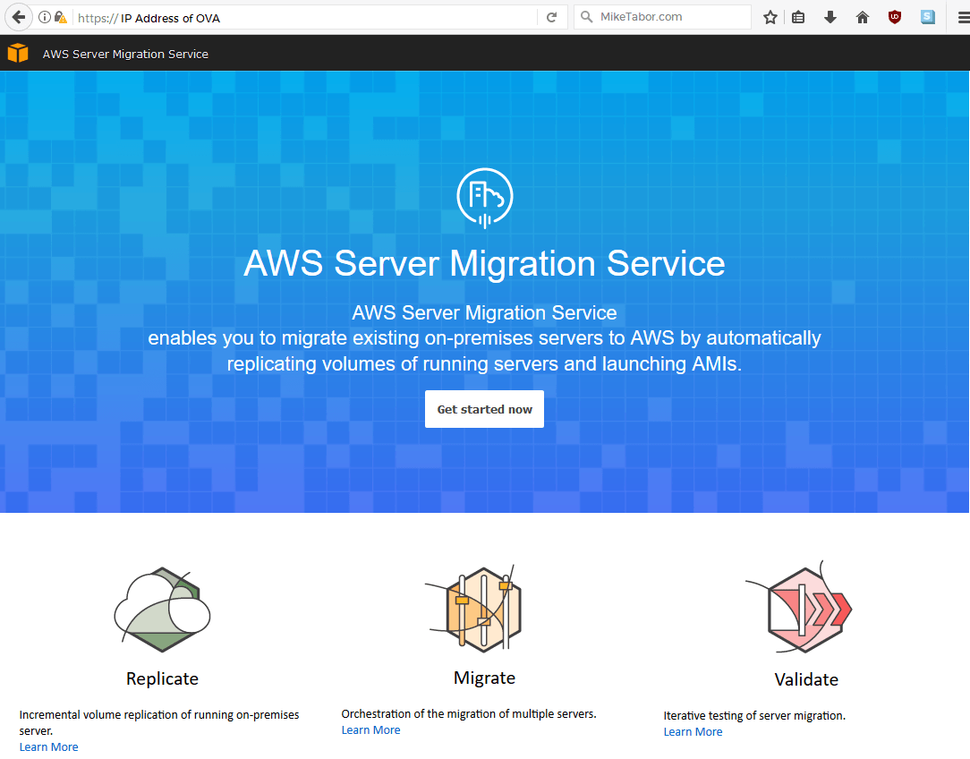 load aws server migration service