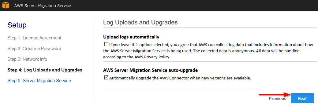 aws server migration service log uploads upgrades