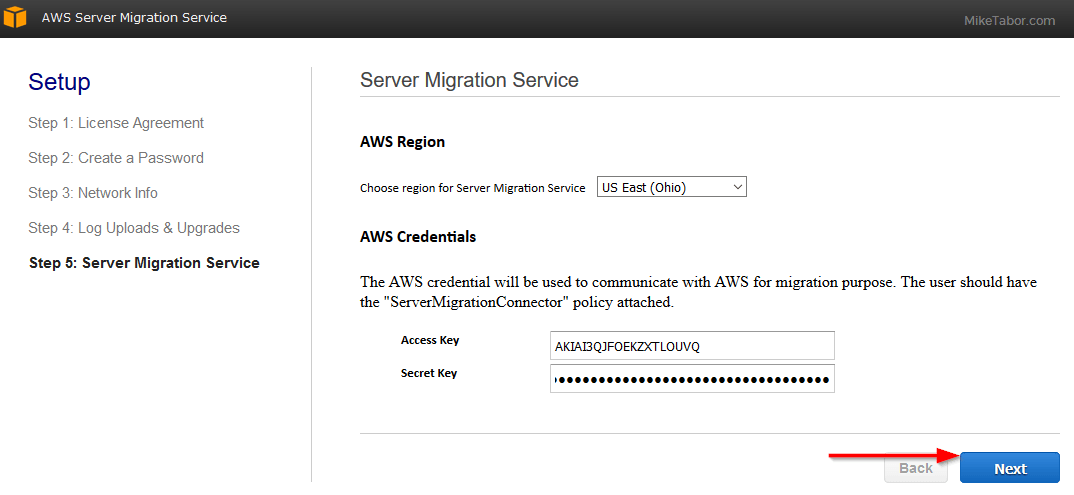 aws server migration service region