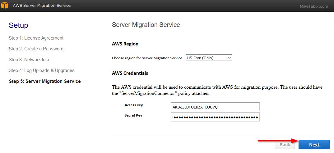 aws server migration service region