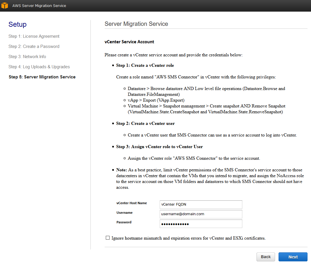 aws server migration service vcenter