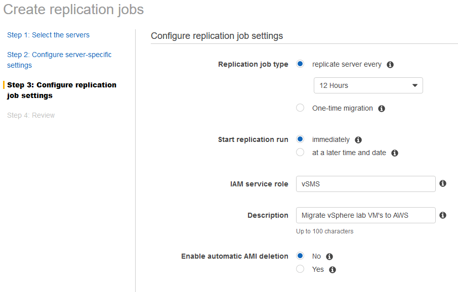 aws sms servers create replication jobs configure replication