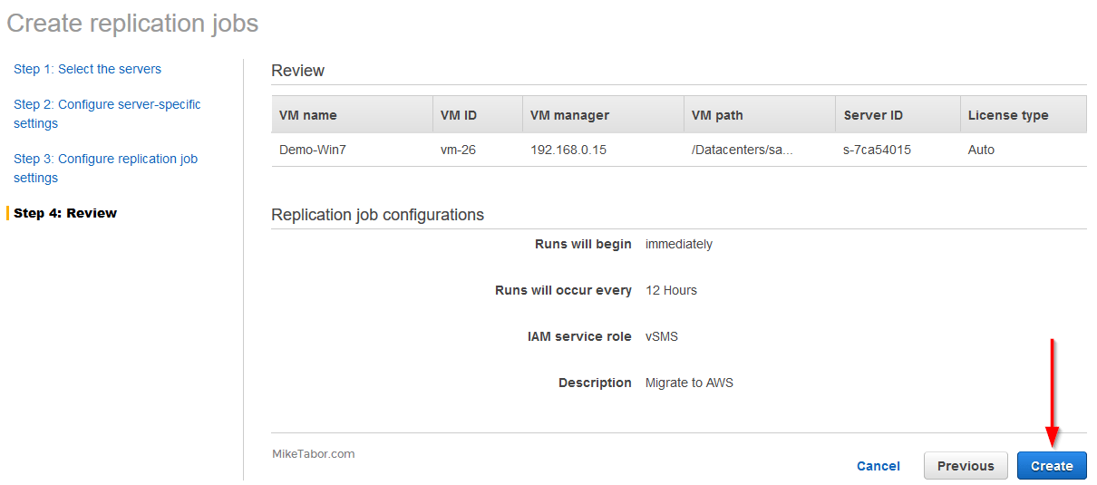 aws sms servers create replication jobs review