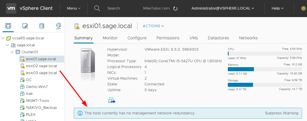 host no management network redundancy