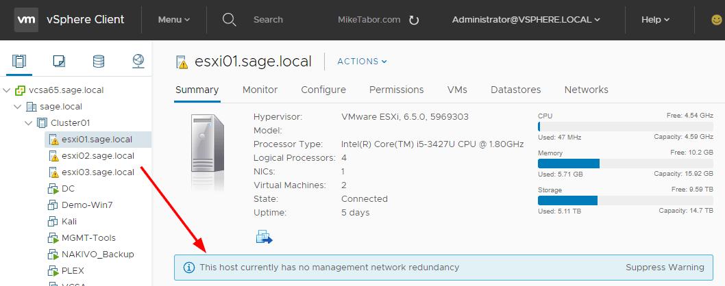 host no management network redundancy