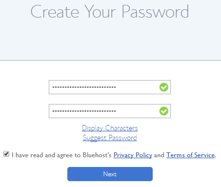 how t -start a blog create password