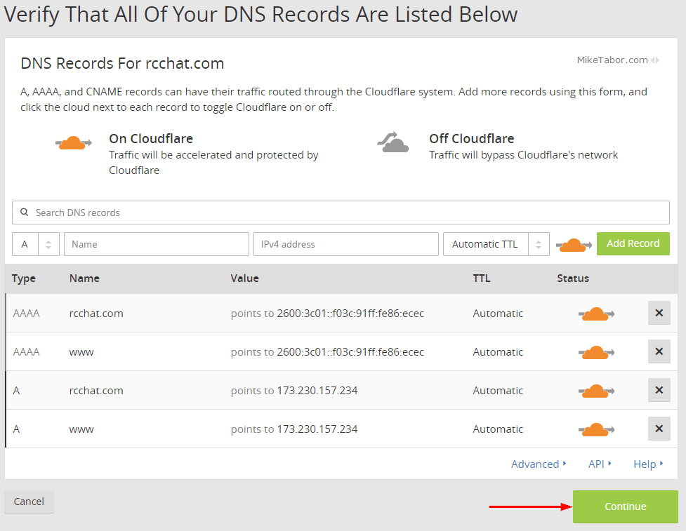 Confirm DNS records in CloudFlare