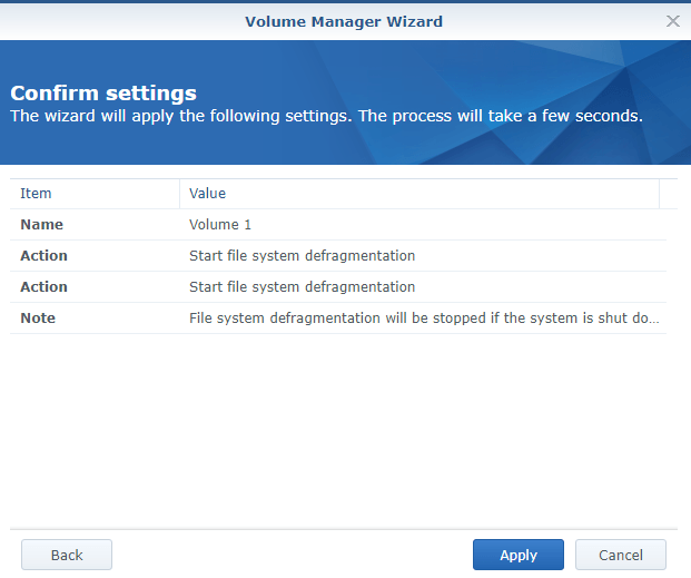 synology defrag confirm wizard