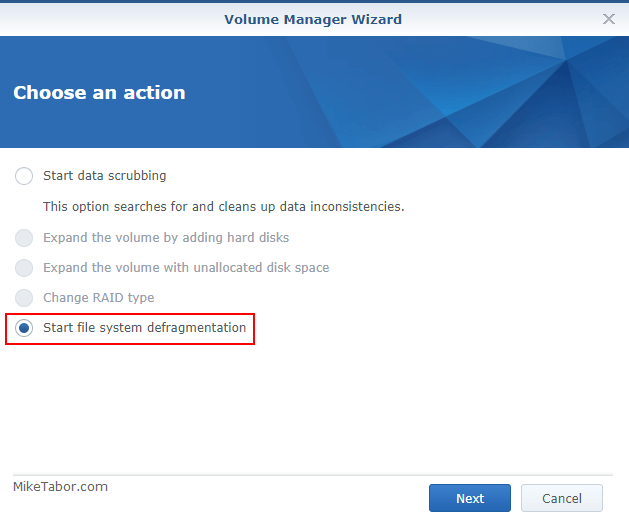 defrag synology volume wizard