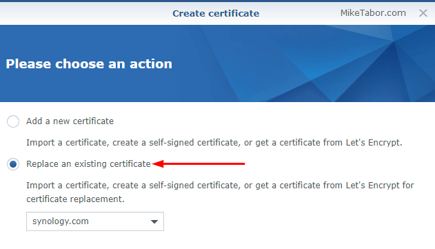 Install a Let\'s Encrypt SSL certificate on a Synology NAS - Mike Tabor