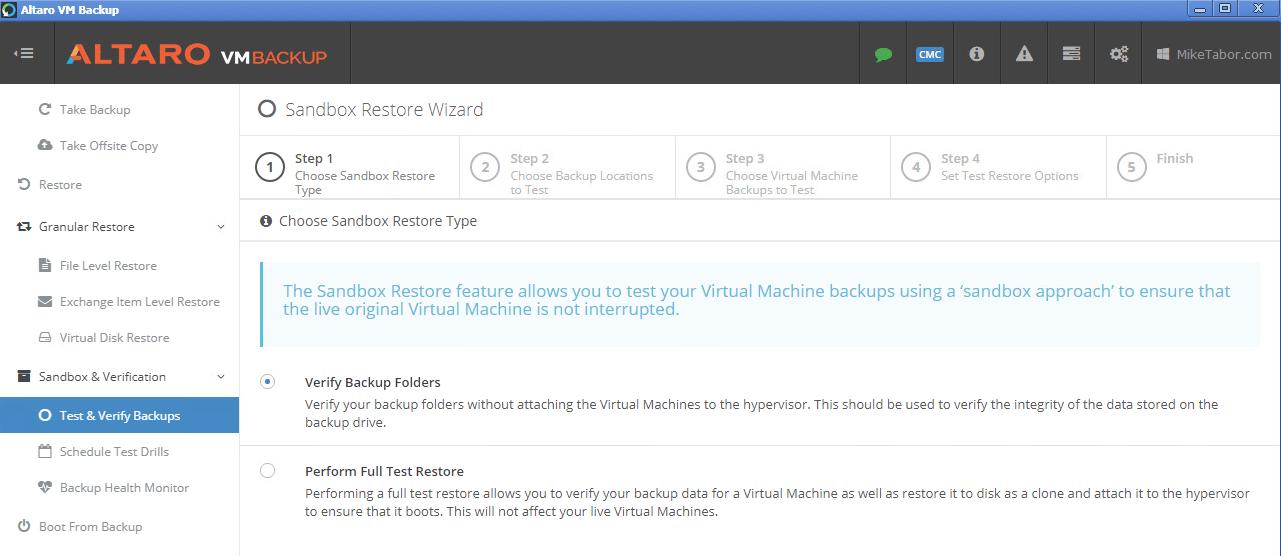 Altaro VM Backup test backups