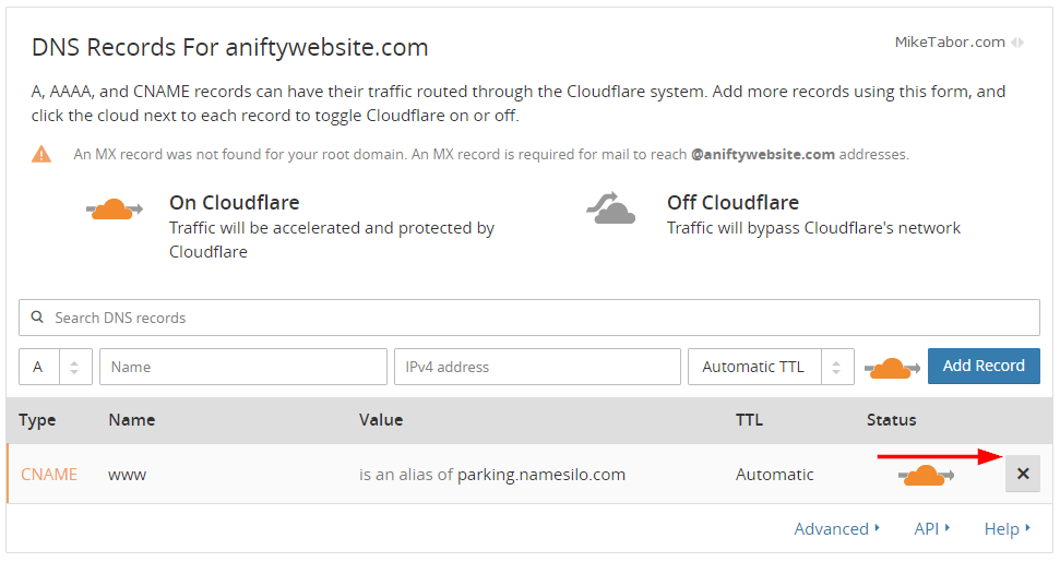 cloudflare remove dns records