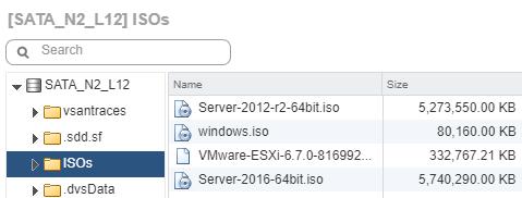 VMware ESXi 6.7 datastore