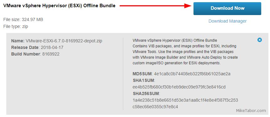VMware ESXi 6.7 offline bundle