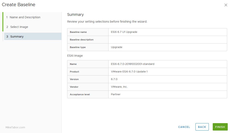 upgrade esxi 6.7 baseline details