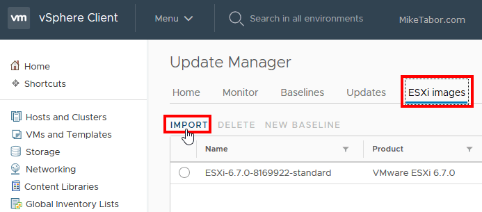 upgrade esxi 6.7 import image