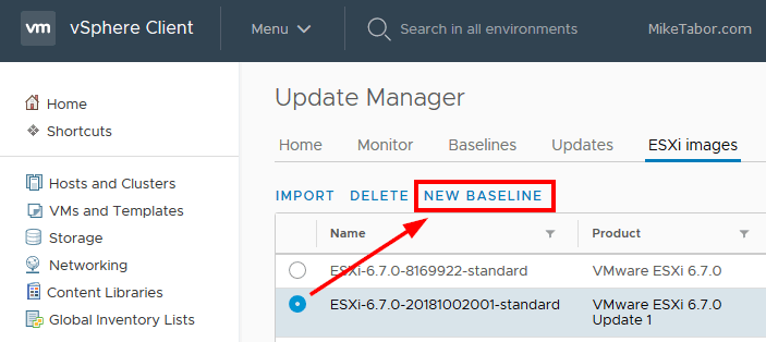 upgrade esxi 6.7 new baseline
