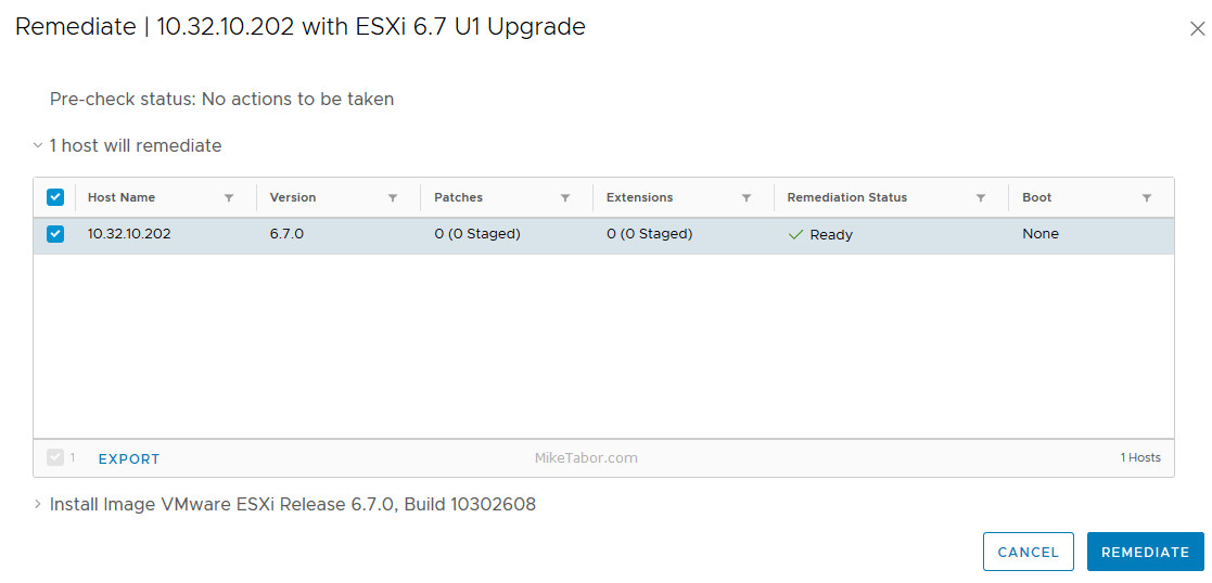 upgrade esxi 6.7 vum remediate confirm