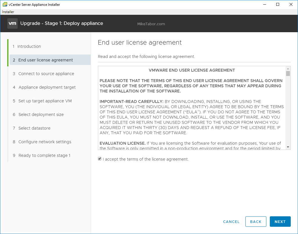 upgrade vcsa 6.5 to 6.7 accept eula