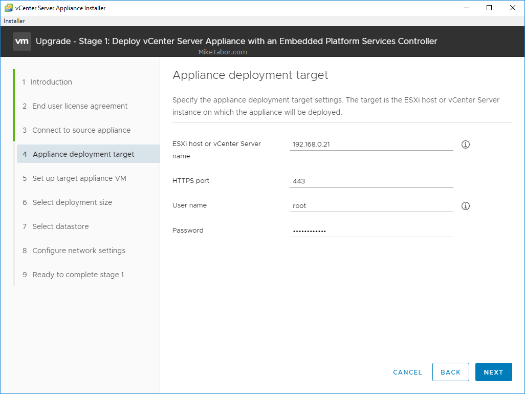 upgrade vcsa 6.5 to 6.7 appliance deployment