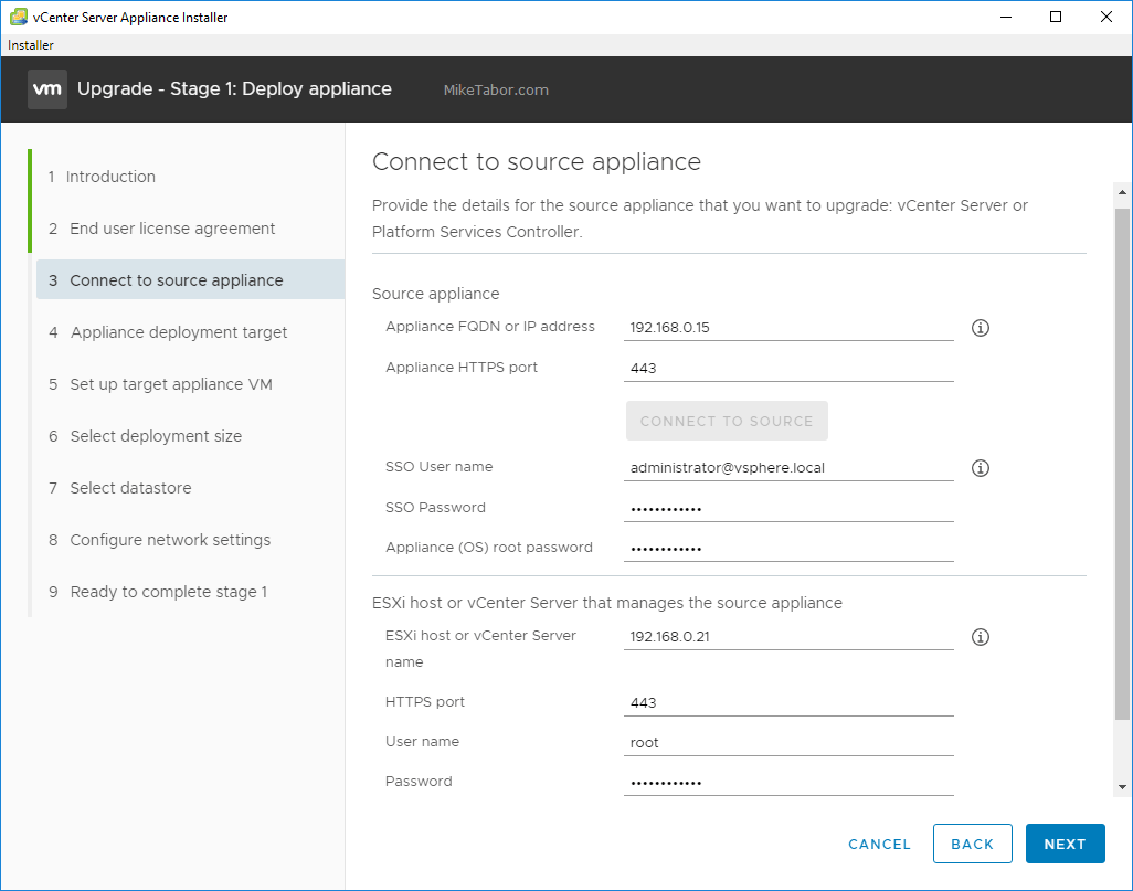 upgrade vcsa 6.5 to 6.7 connect source appliance