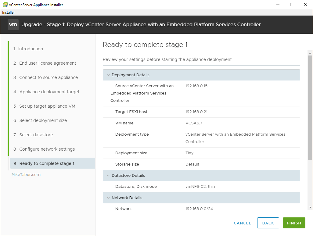 upgrade vcsa 6.5 to 6.7 review stage 1