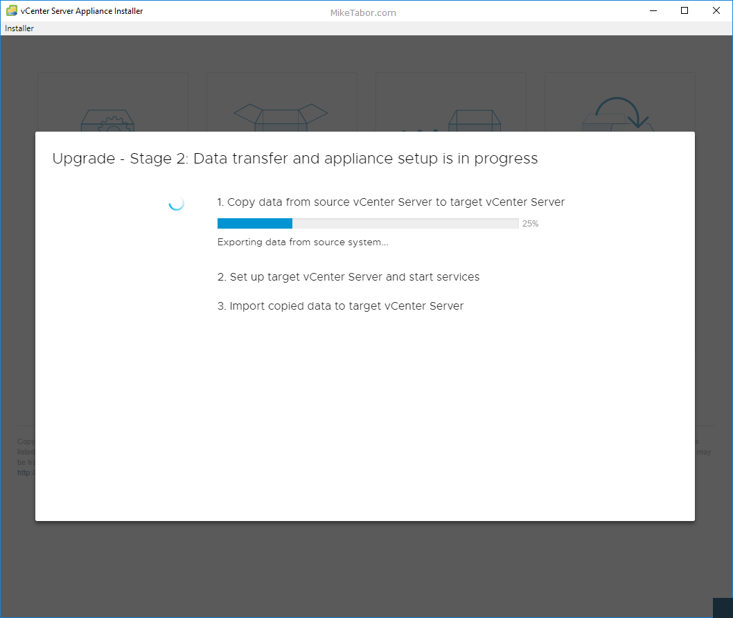 upgrade vcsa 6.5 to 6.7 stage 2 data transfer