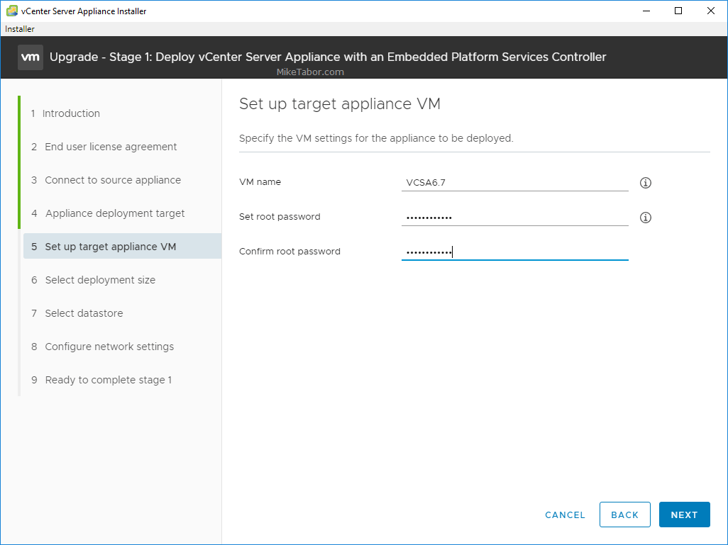 upgrade vcsa 6.5 to 6.7 target appliance vm