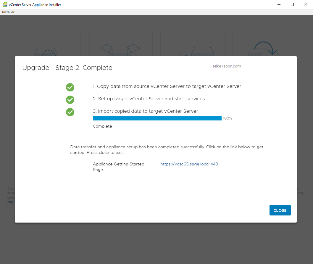 upgrade vcsa 6.5 to 6.7 upgrade complete