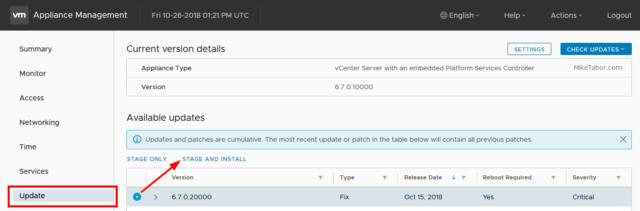 Update vCenter Server Appliance 6.7 to 6.7 Update 1