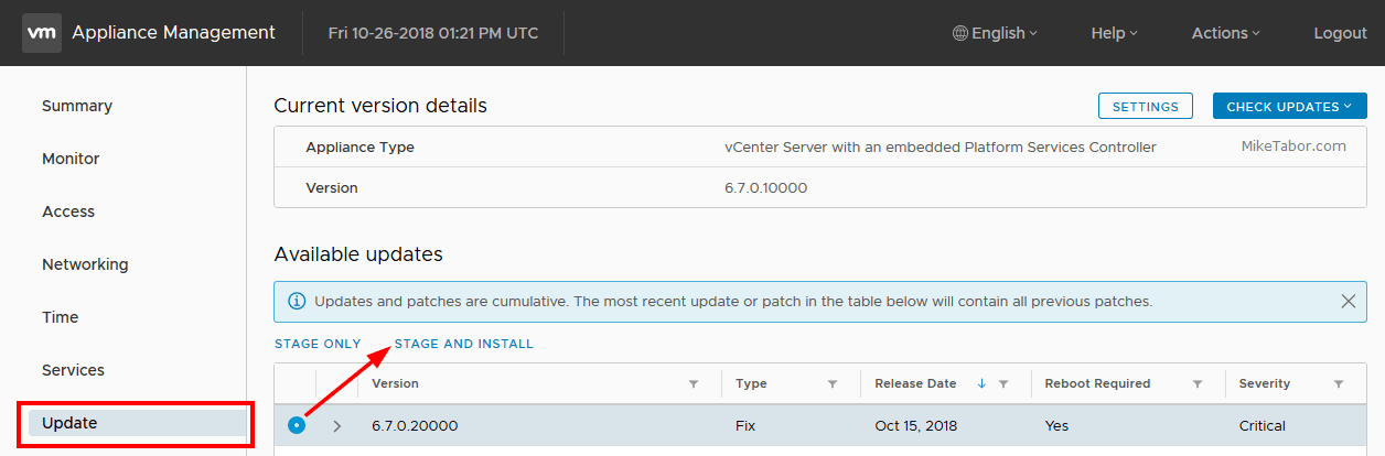VMware vCenter Service Appliance Update