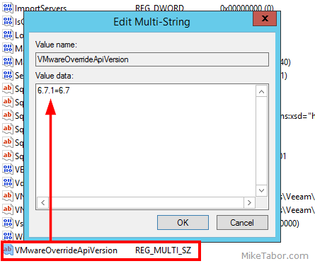 veeam VMwareOverrideApiVersion