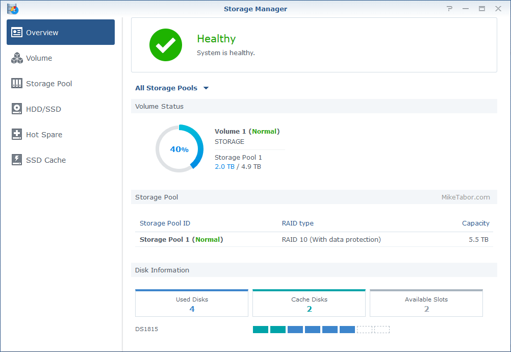 Synology NAS storage manager