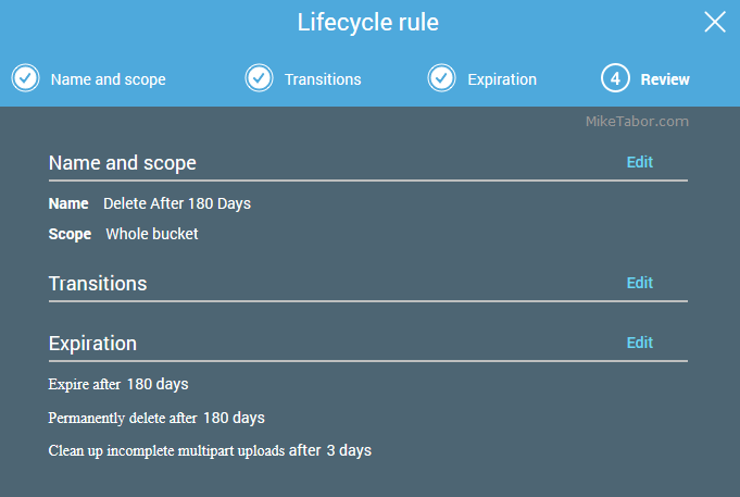 AWS lifecycle policy