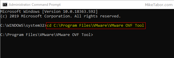vmdk to ovf command prompt