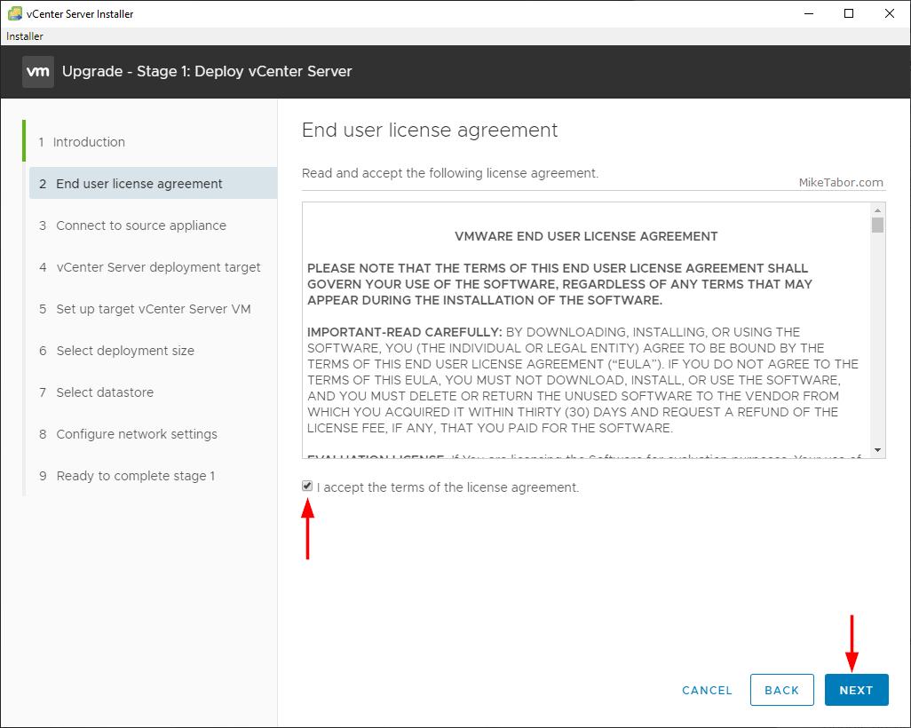 vcenter 7.0 installer eula