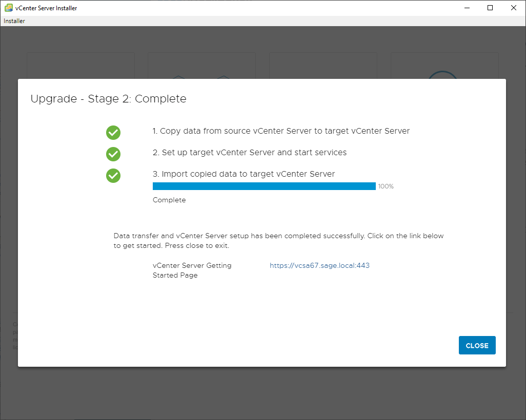 vcenter 7.0 installer stage 2 complete