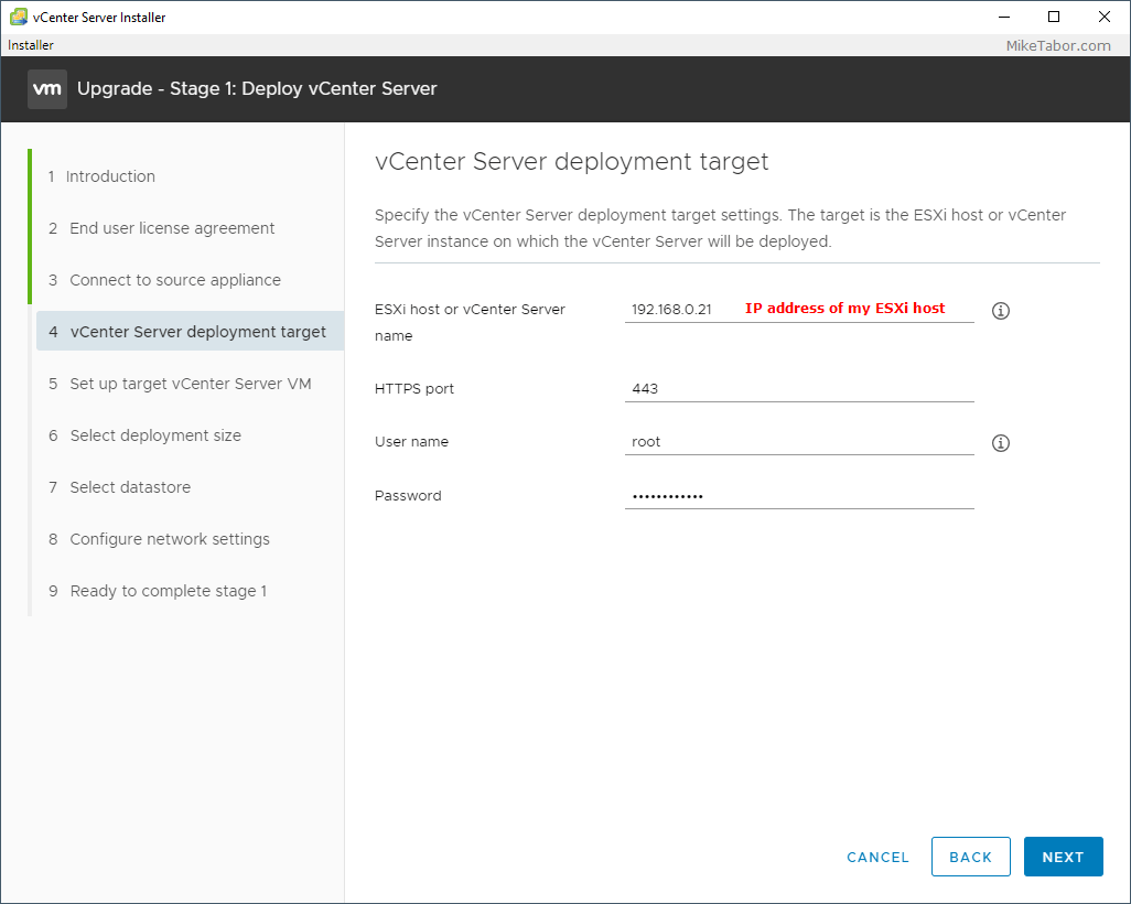 vcenter 7.0 installer target