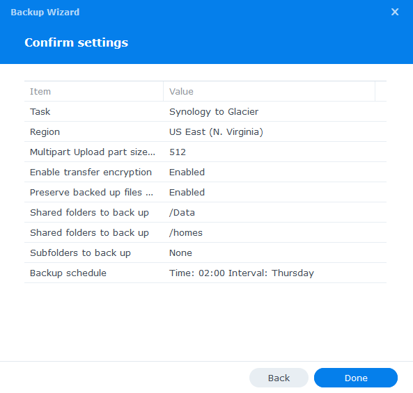 synology glacier confirm settings