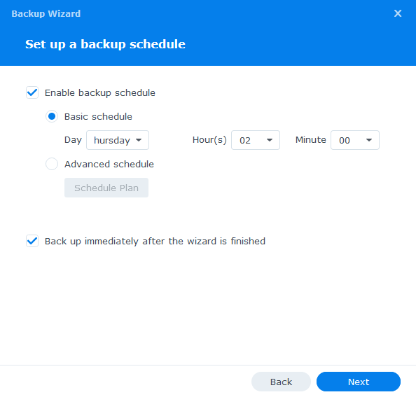 synology glacier create backup schedule