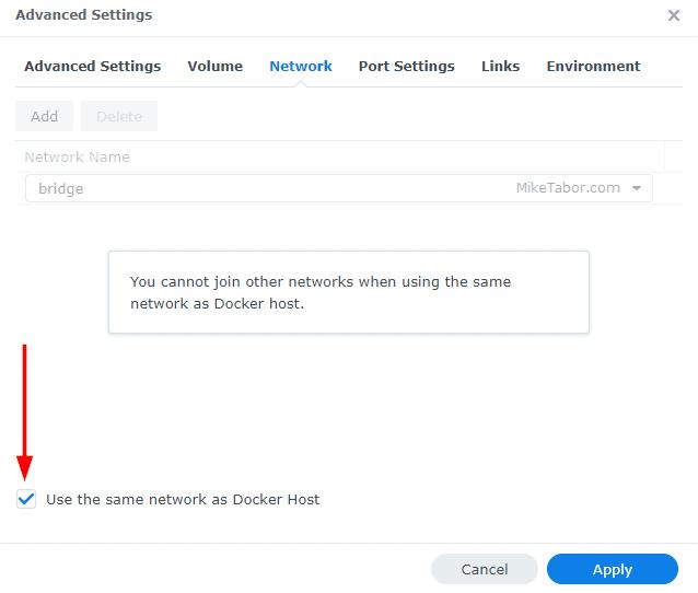 synology docker network settings