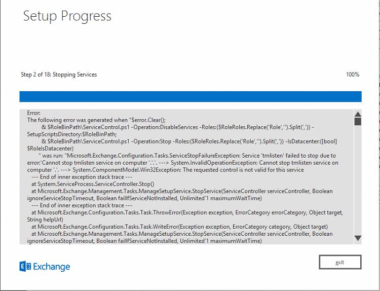 Microsft Exchange Error: Cannot stop tmlisten service